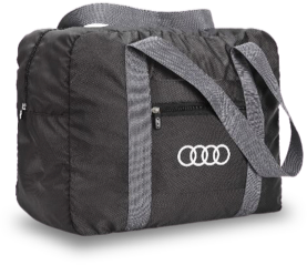 An Audi-branded duffle bag
