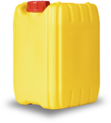 A yellow plastic water container
