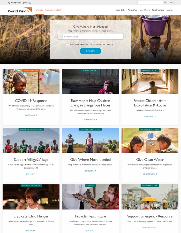 A screenshot of the donate.worldvision.ca homepage